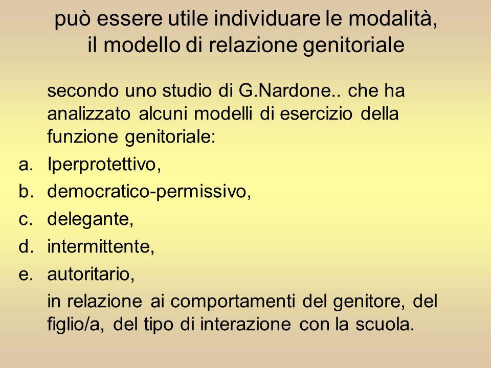 può essere utile individuare le modalità, il modello di relazione genitoriale secondo uno studio di G.Nardone.. che ha analizzato alcuni modelli di es