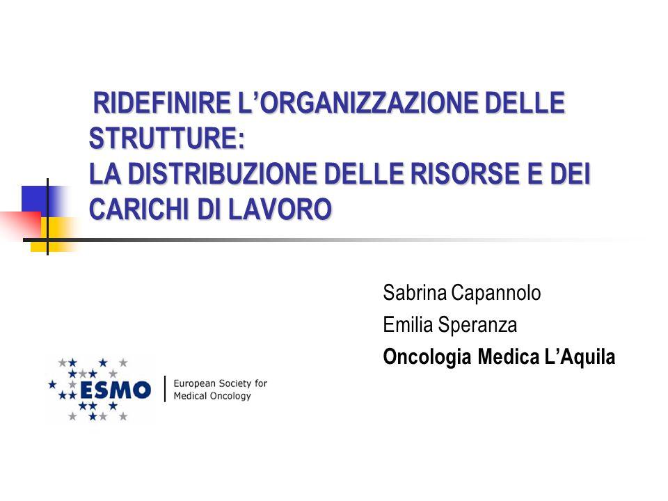 RIDEFINIRE LORGANIZZAZIONE DELLE STRUTTURE: LA DISTRIBUZIONE DELLE RISORSE E DEI CARICHI DI LAVORO RIDEFINIRE LORGANIZZAZIONE DELLE STRUTTURE: LA DISTRIBUZIONE DELLE RISORSE E DEI CARICHI DI LAVORO Sabrina Capannolo Emilia Speranza Oncologia Medica LAquila