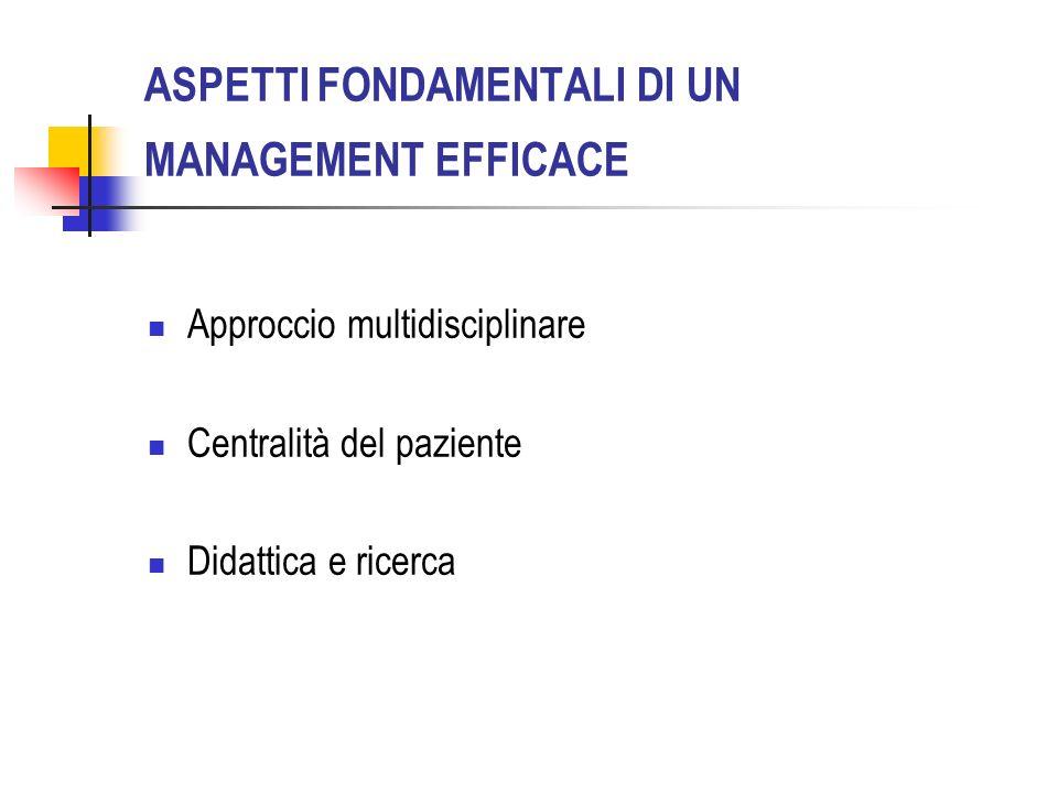ASPETTI FONDAMENTALI DI UN MANAGEMENT EFFICACE Approccio multidisciplinare Centralità del paziente Didattica e ricerca