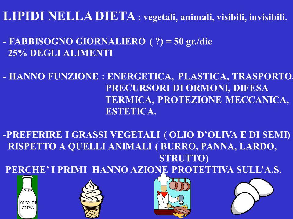 PROTEINE NELLA DIETA FABBISOGNO : 0.8 - gr./kg./die - FUNZIONE BIOLOGICA : hanno funzione plastica o costruttiva nellanziano sono indispensabili per l