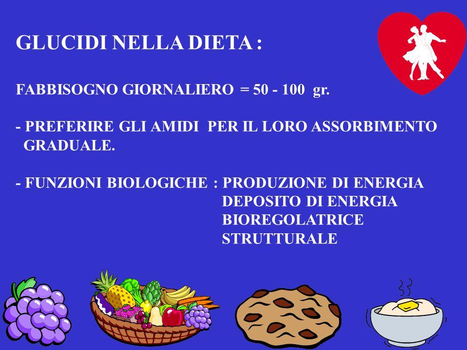 LIPIDI NELLA DIETA : vegetali, animali, visibili, invisibili. - FABBISOGNO GIORNALIERO ( ?) = 50 gr./die 25% DEGLI ALIMENTI - HANNO FUNZIONE : ENERGET