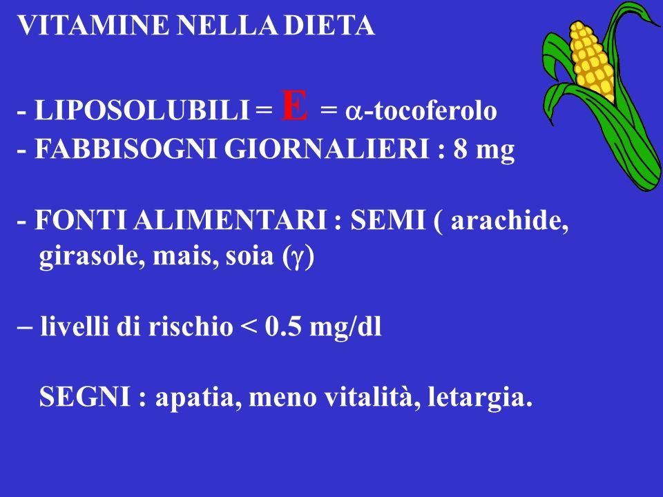 VITAMINE NELLA DIETA D-2 ERGOCALCIFEROLO - LIPOSOLUBILI = D = D-3 COLECALCIFEROLO - FABBISOGNI GIORNALIERI = 800 U.I. 1 g di colecalciferolo = 40 U.I.