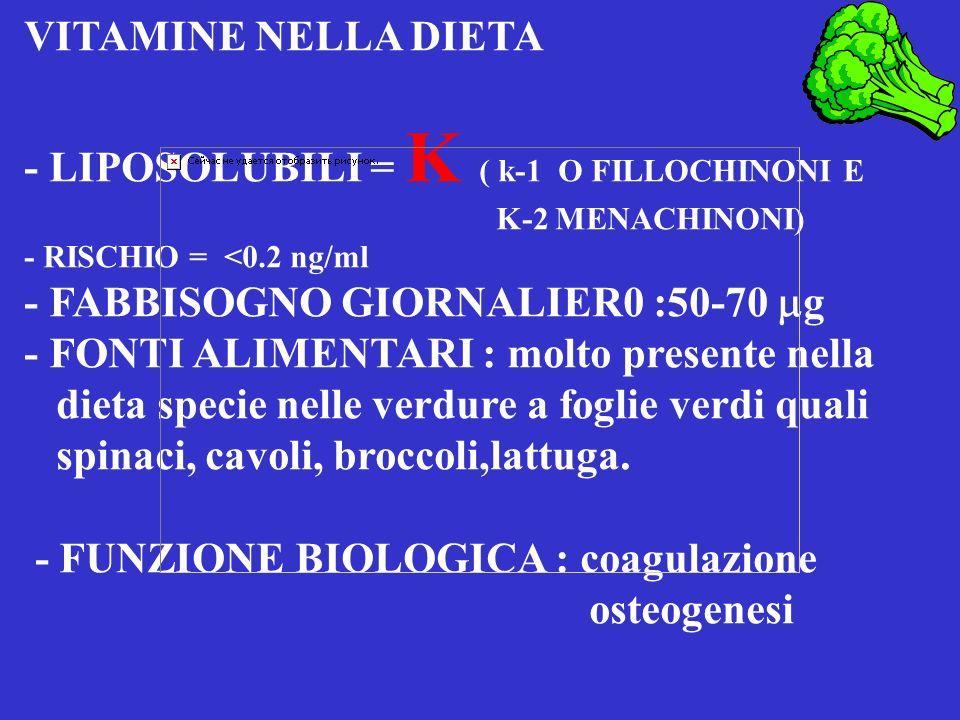 VITAMINE NELLA DIETA - LIPOSOLUBILI = E = -tocoferolo - FABBISOGNI GIORNALIERI : 8 mg - FONTI ALIMENTARI : SEMI ( arachide, girasole, mais, soia ( liv