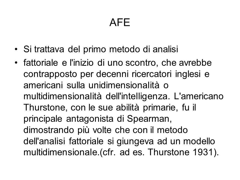 AFE Si trattava del primo metodo di analisi fattoriale e l'inizio di uno scontro, che avrebbe contrapposto per decenni ricercatori inglesi e americani