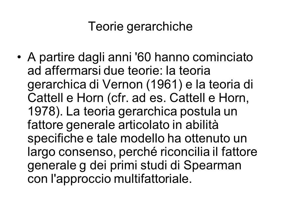 Teorie gerarchiche A partire dagli anni '60 hanno cominciato ad affermarsi due teorie: la teoria gerarchica di Vernon (1961) e la teoria di Cattell e