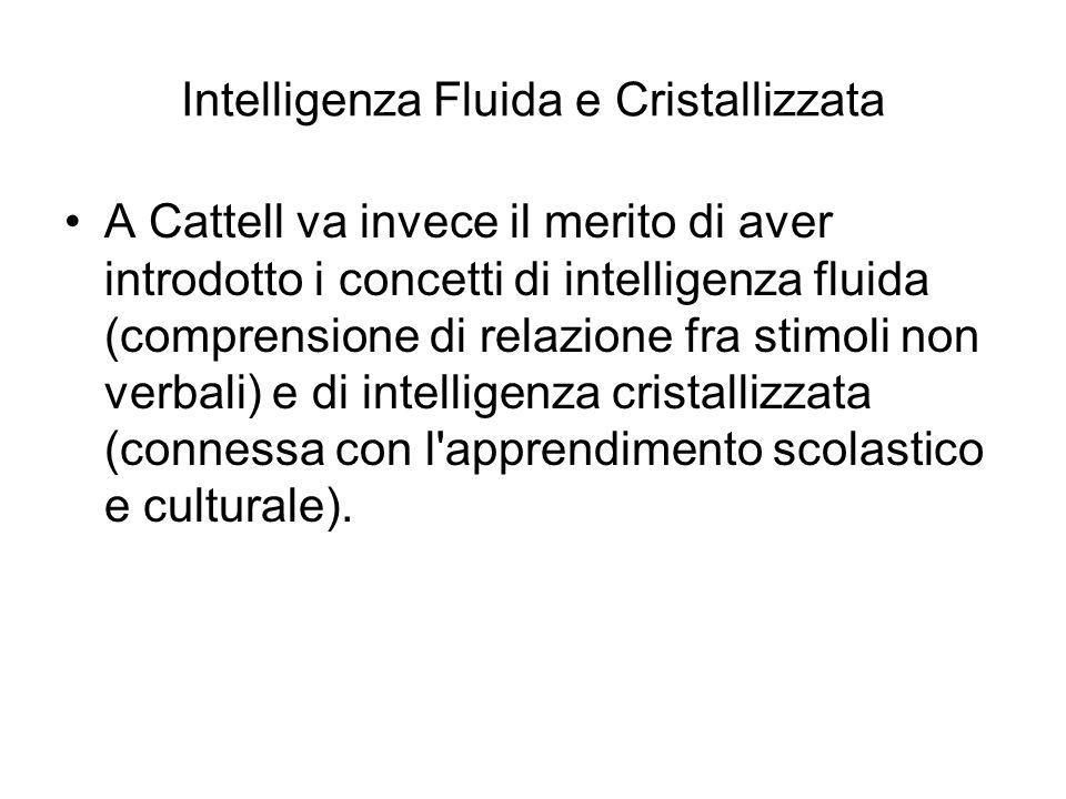 Intelligenza Fluida e Cristallizzata A Cattell va invece il merito di aver introdotto i concetti di intelligenza fluida (comprensione di relazione fra