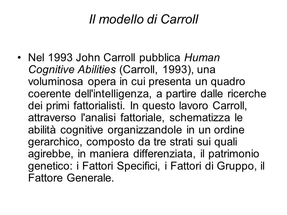 Il modello di Carroll Nel 1993 John Carroll pubblica Human Cognitive Abilities (Carroll, 1993), una voluminosa opera in cui presenta un quadro coerent