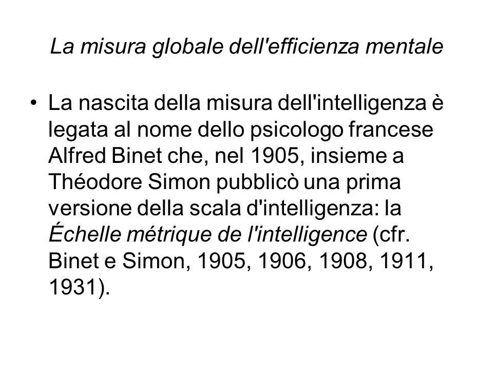La misura globale dell'efficienza mentale La nascita della misura dell'intelligenza è legata al nome dello psicologo francese Alfred Binet che, nel 19