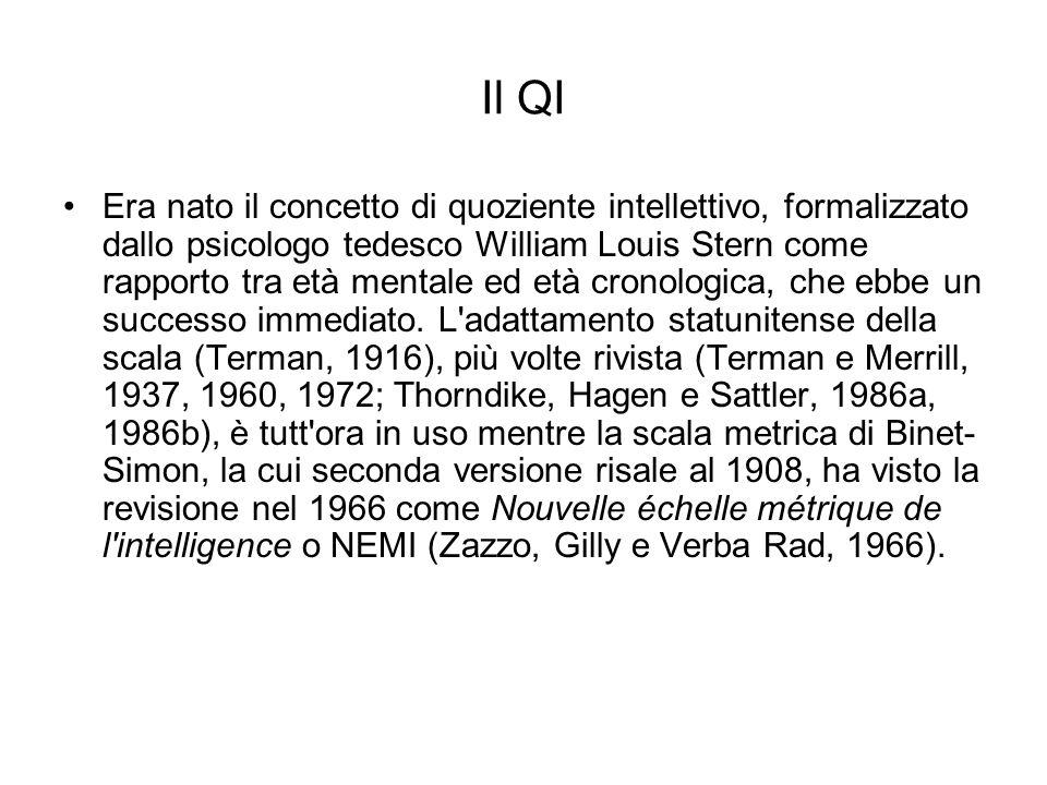 Il QI Era nato il concetto di quoziente intellettivo, formalizzato dallo psicologo tedesco William Louis Stern come rapporto tra età mentale ed età cr