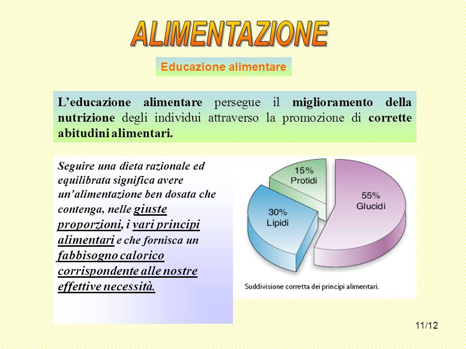 11/12 Leducazione alimentare persegue il miglioramento della nutrizione degli individui attraverso la promozione di corrette abitudini alimentari. Edu