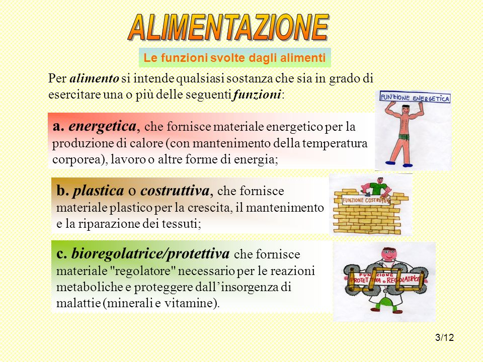 3/12 Le funzioni svolte dagli alimenti Per alimento si intende qualsiasi sostanza che sia in grado di esercitare una o più delle seguenti funzioni: a.
