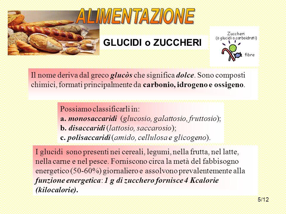 5/12 Possiamo classificarli in: a. monosaccaridi (glucosio, galattosio, fruttosio); b. disaccaridi (lattosio, saccarosio); c. polisaccaridi (amido, ce