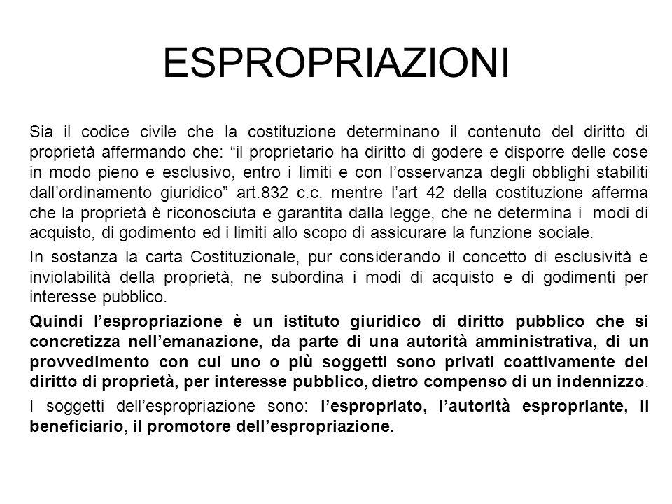 ESPROPRIAZIONI Sia il codice civile che la costituzione determinano il contenuto del diritto di proprietà affermando che: il proprietario ha diritto d