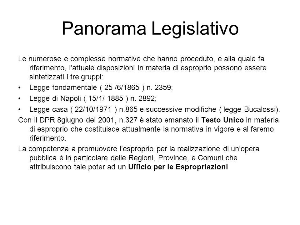 Panorama Legislativo Le numerose e complesse normative che hanno proceduto, e alla quale fa riferimento, lattuale disposizioni in materia di esproprio
