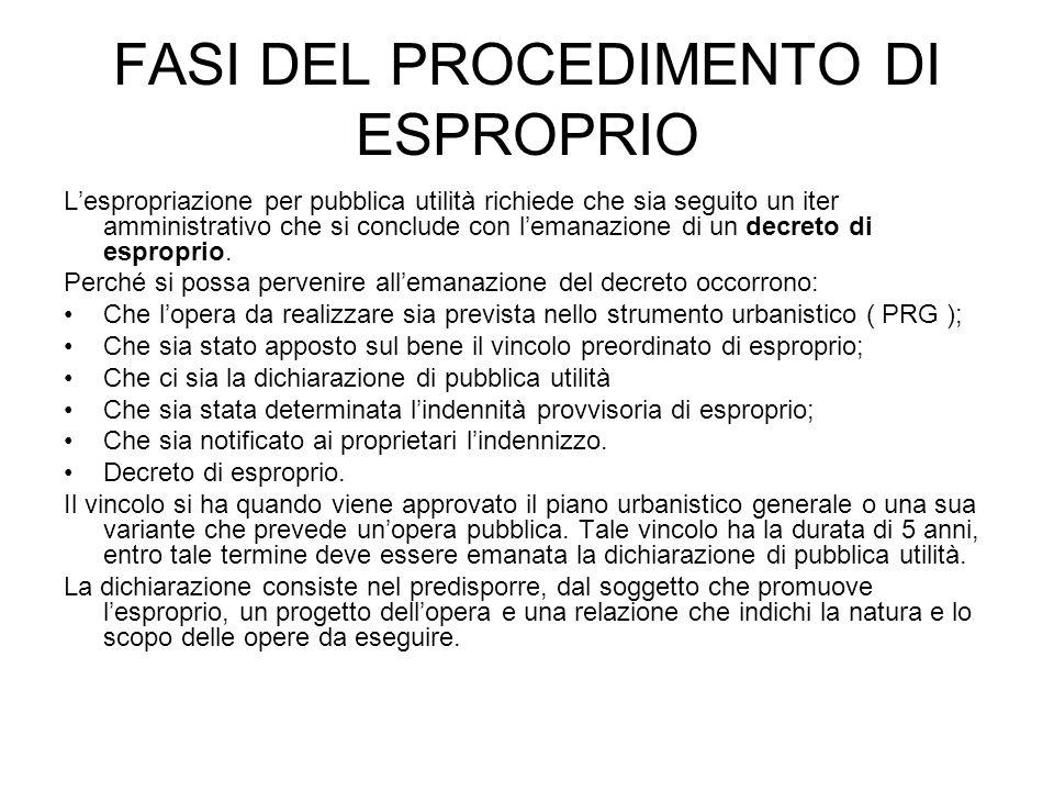FASI DEL PROCEDIMENTO DI ESPROPRIO Lespropriazione per pubblica utilità richiede che sia seguito un iter amministrativo che si conclude con lemanazion