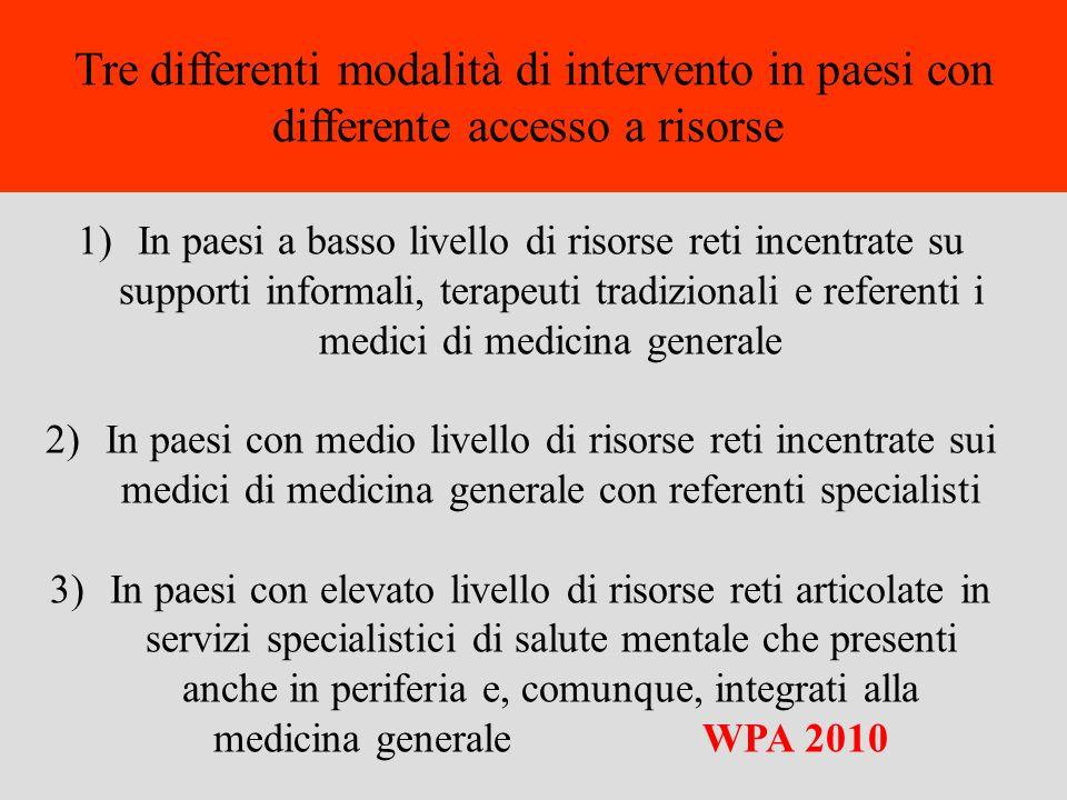 1)In paesi a basso livello di risorse reti incentrate su supporti informali, terapeuti tradizionali e referenti i medici di medicina generale 2)In pae