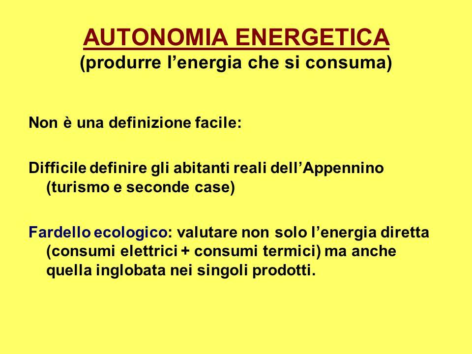 AUTONOMIA ENERGETICA (produrre lenergia che si consuma) Non è una definizione facile: Difficile definire gli abitanti reali dellAppennino (turismo e s