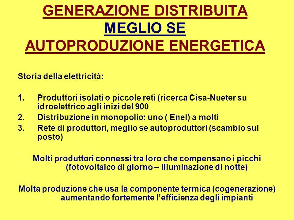 GENERAZIONE DISTRIBUITA MEGLIO SE AUTOPRODUZIONE ENERGETICA Storia della elettricità: 1.Produttori isolati o piccole reti (ricerca Cisa-Nueter su idro