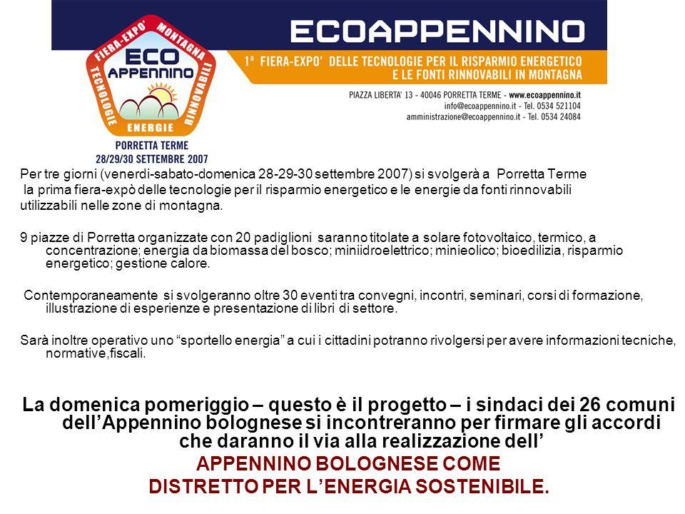 Per tre giorni (venerdi-sabato-domenica 28-29-30 settembre 2007) si svolgerà a Porretta Terme la prima fiera-expò delle tecnologie per il risparmio en