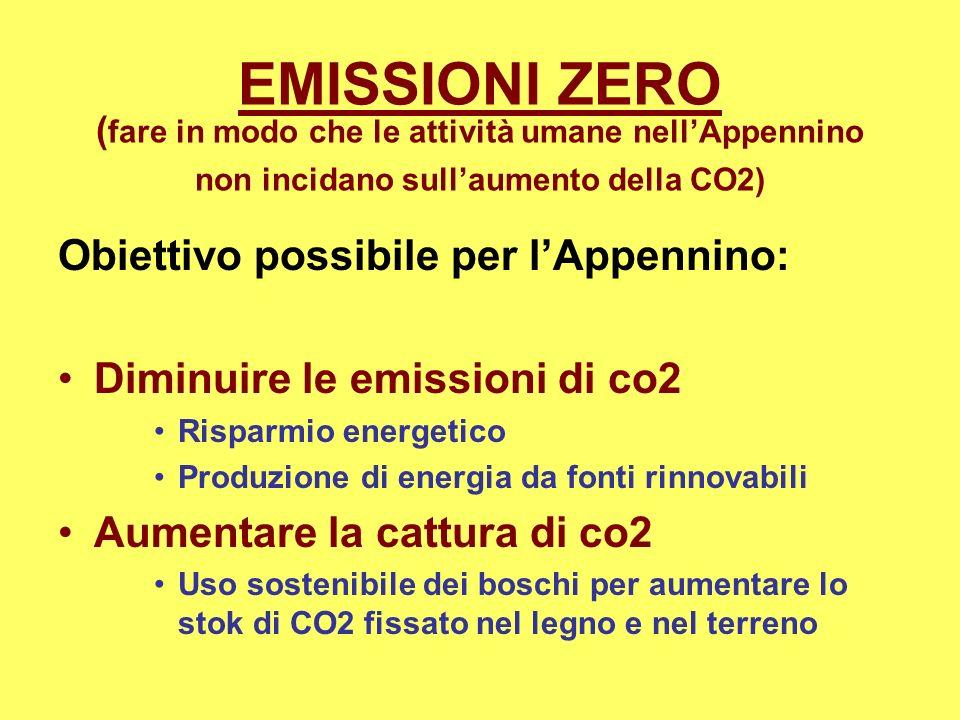 EMISSIONI ZERO ( fare in modo che le attività umane nellAppennino non incidano sullaumento della CO2) Obiettivo possibile per lAppennino: Diminuire le