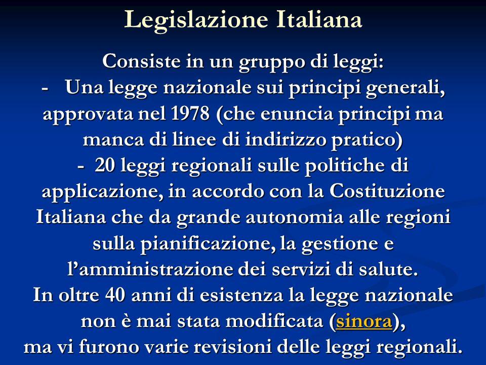 Consiste in un gruppo di leggi: - Una legge nazionale sui principi generali, approvata nel 1978 (che enuncia principi ma manca di linee di indirizzo p
