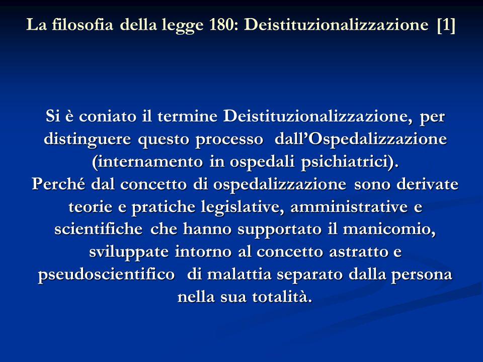 Si è coniato il termine Deistituzionalizzazione, per distinguere questo processo dallOspedalizzazione (internamento in ospedali psichiatrici). Perché
