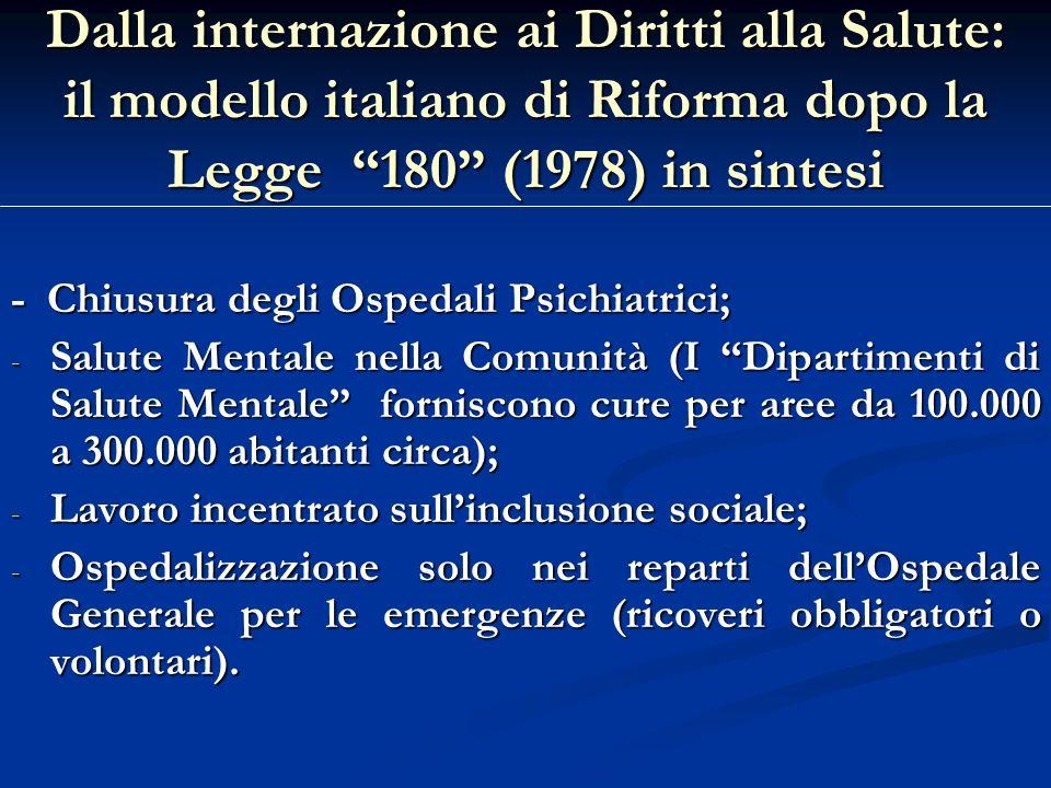 Dalla internazione ai Diritti alla Salute: il modello italiano di Riforma dopo la Legge 180 (1978) in sintesi - Chiusura degli Ospedali Psichiatrici;
