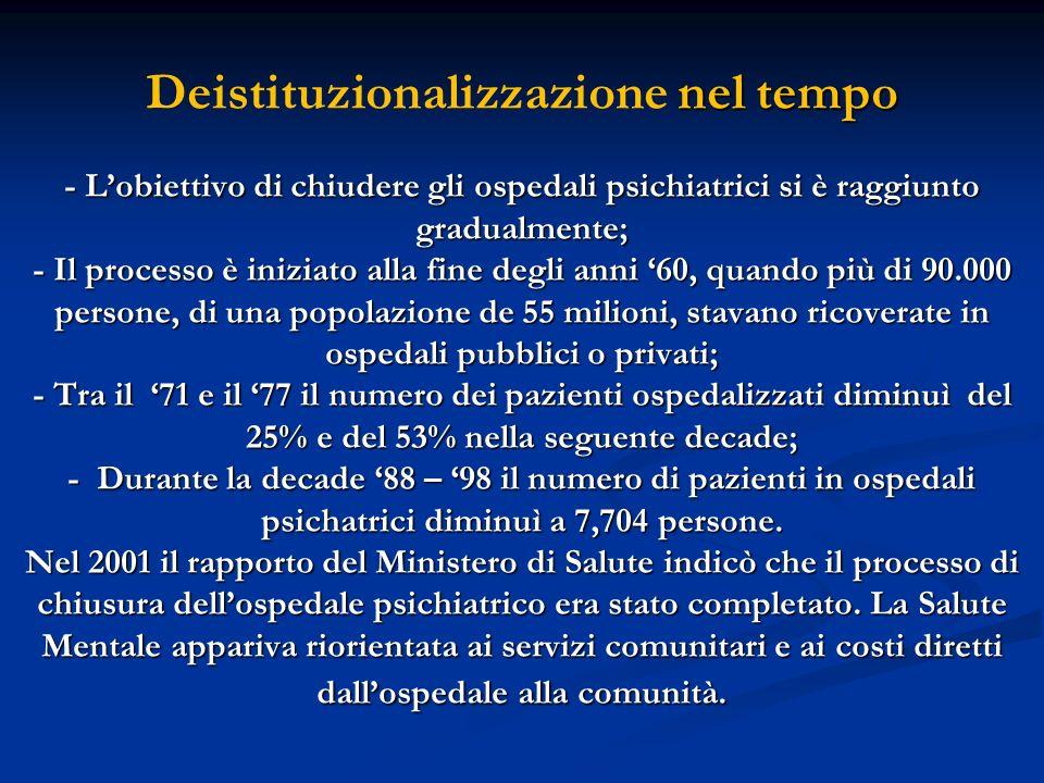 nel tempo - Lobiettivo di chiudere gli ospedali psichiatrici si è raggiunto gradualmente; - Il processo è iniziato alla fine degli anni 60, quando più