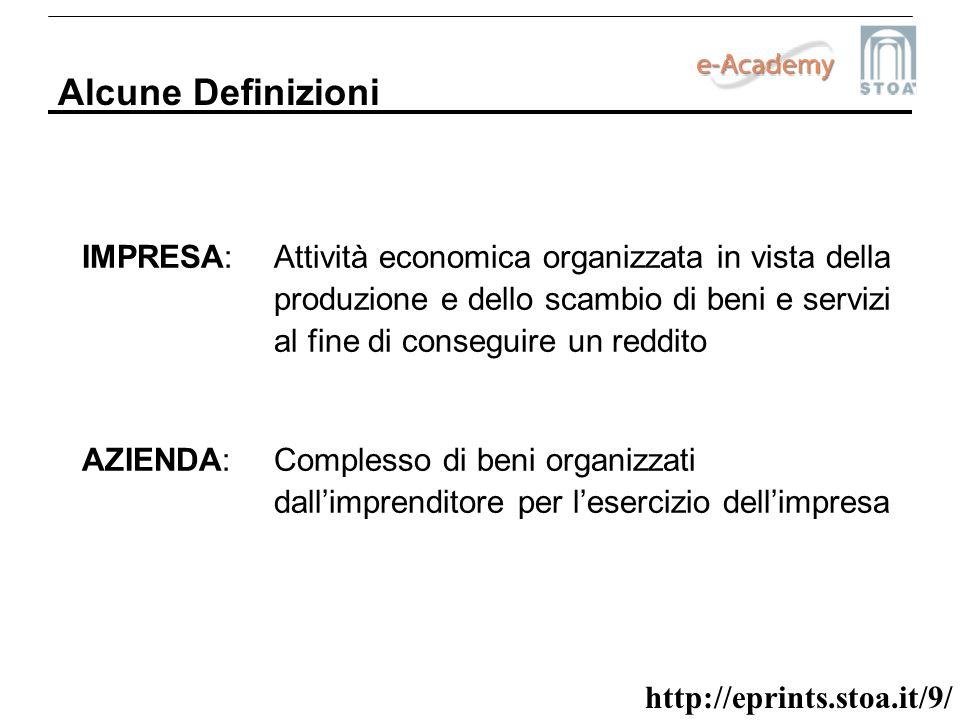 http://eprints.stoa.it/9/ Alcune Definizioni IMPRESA: Attività economica organizzata in vista della produzione e dello scambio di beni e servizi al fi