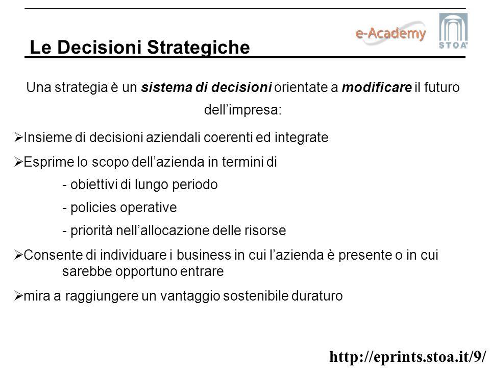 http://eprints.stoa.it/9/ Le Decisioni Strategiche Una strategia è un sistema di decisioni orientate a modificare il futuro dellimpresa: Insieme di de
