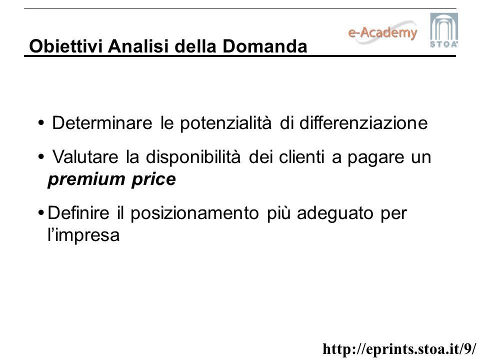 http://eprints.stoa.it/9/ Obiettivi Analisi della Domanda Determinare le potenzialità di differenziazione Valutare la disponibilità dei clienti a paga