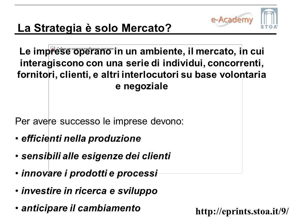 http://eprints.stoa.it/9/ La Strategia è solo Mercato? Le imprese operano in un ambiente, il mercato, in cui interagiscono con una serie di individui,