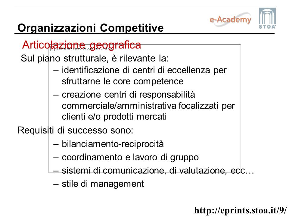 http://eprints.stoa.it/9/ Organizzazioni Competitive Sul piano strutturale, è rilevante la: –identificazione di centri di eccellenza per sfruttarne le