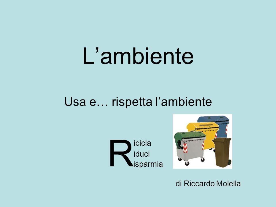 Lambiente Usa e… rispetta lambiente R iduci icicla isparmia di Riccardo Molella