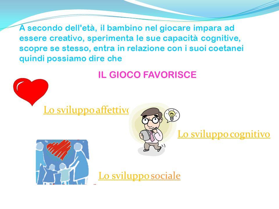Lo sviluppo Lo sviluppo sociale A secondo dell'età, il bambino nel giocare impara ad essere creativo, sperimenta le sue capacità cognitive, scopre se