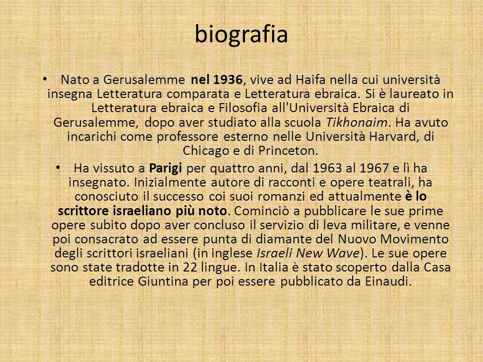 biografia Nato a Gerusalemme nel 1936, vive ad Haifa nella cui università insegna Letteratura comparata e Letteratura ebraica. Si è laureato in Letter