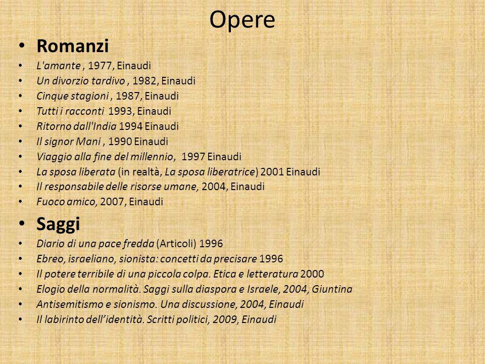 Opere Romanzi L'amante, 1977, Einaudi Un divorzio tardivo, 1982, Einaudi Cinque stagioni, 1987, Einaudi Tutti i racconti 1993, Einaudi Ritorno dall'In