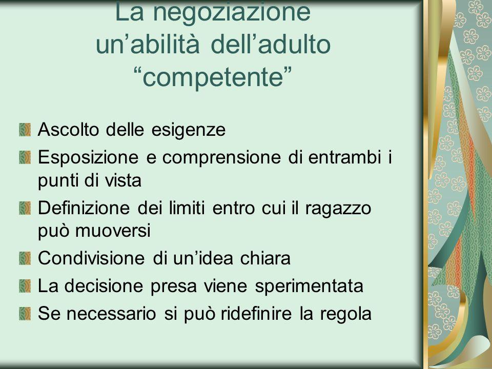 La negoziazione unabilità delladulto competente Ascolto delle esigenze Esposizione e comprensione di entrambi i punti di vista Definizione dei limiti