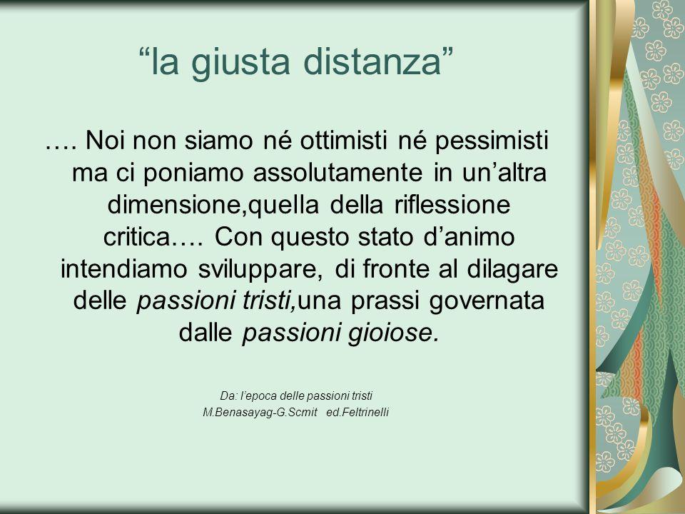 la giusta distanza …. Noi non siamo né ottimisti né pessimisti ma ci poniamo assolutamente in unaltra dimensione,quella della riflessione critica…. Co