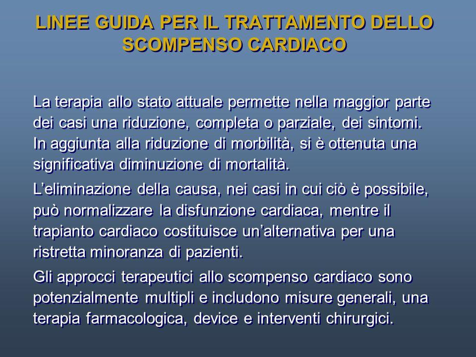 LINEE GUIDA PER IL TRATTAMENTO DELLO SCOMPENSO CARDIACO La terapia allo stato attuale permette nella maggior parte dei casi una riduzione, completa o