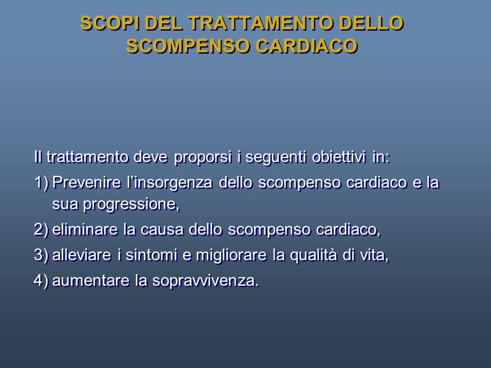SCOPI DEL TRATTAMENTO DELLO SCOMPENSO CARDIACO Il trattamento deve proporsi i seguenti obiettivi in: 1)Prevenire linsorgenza dello scompenso cardiaco
