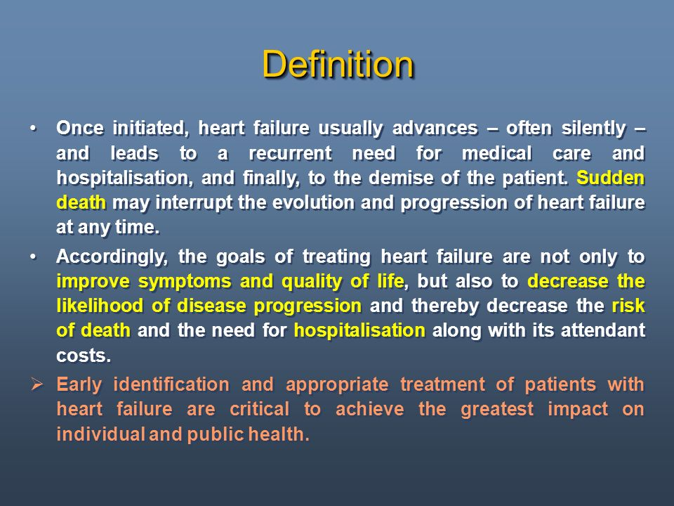 In Europa la disfunzione miocardica secondaria alla cardiopatia ischemica, generalmente conseguente a infarto miocardico acuto, è la causa più comune di scompenso cardiaco al di sotto dei 75 anni, in tal caso sono abitualmente presenti chiare anomalie della funzione sistolica.
