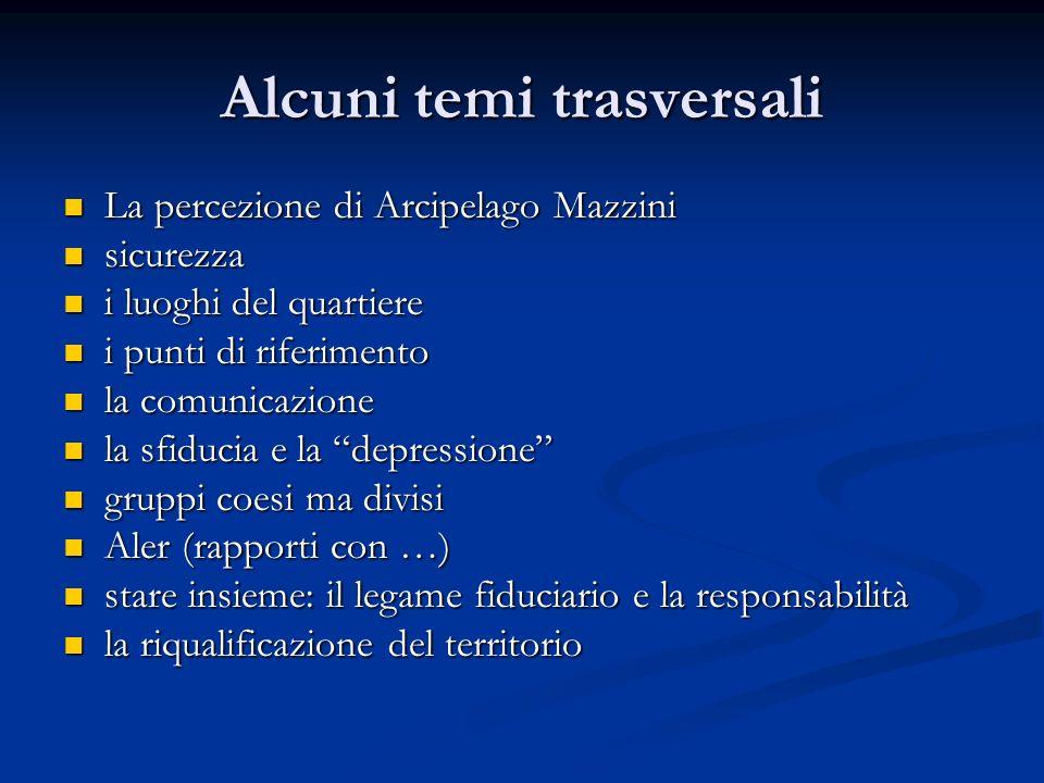 Alcuni temi trasversali La percezione di Arcipelago Mazzini La percezione di Arcipelago Mazzini sicurezza sicurezza i luoghi del quartiere i luoghi de