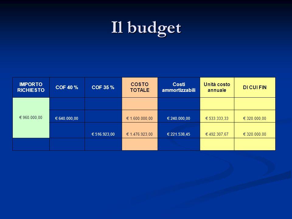Il budget IMPORTO RICHIESTO COF 40 %COF 35 % COSTO TOTALE Costi ammortizzabili Unità costo annuale DI CUI FIN 960.000,00 640.000,00 1.600.000,00 240.0
