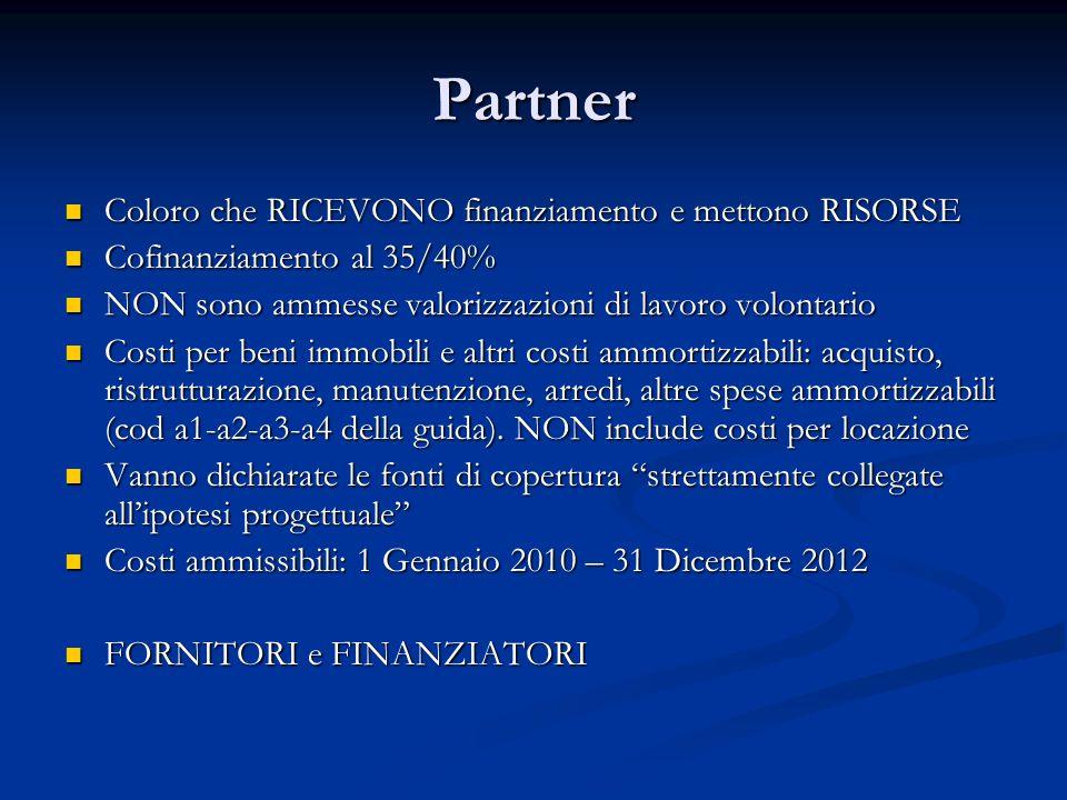 Partner Coloro che RICEVONO finanziamento e mettono RISORSE Coloro che RICEVONO finanziamento e mettono RISORSE Cofinanziamento al 35/40% Cofinanziame