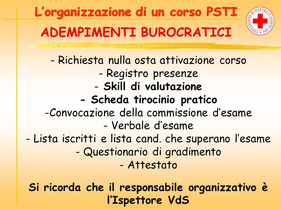 ADEMPIMENTI BUROCRATICI - Richiesta nulla osta attivazione corso - Registro presenze - Skill di valutazione - Scheda tirocinio pratico -Convocazione d