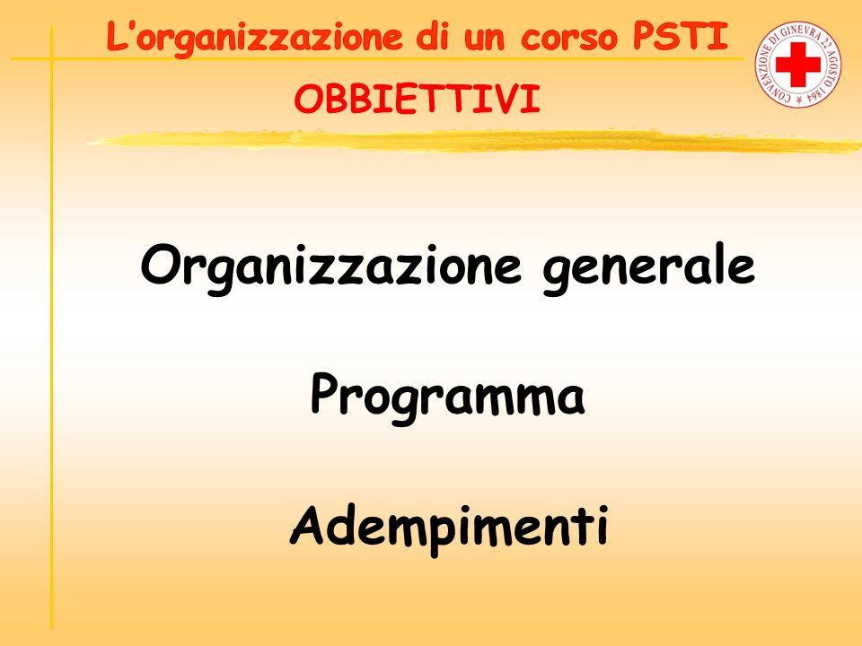OBBIETTIVI Organizzazione generale Programma Adempimenti