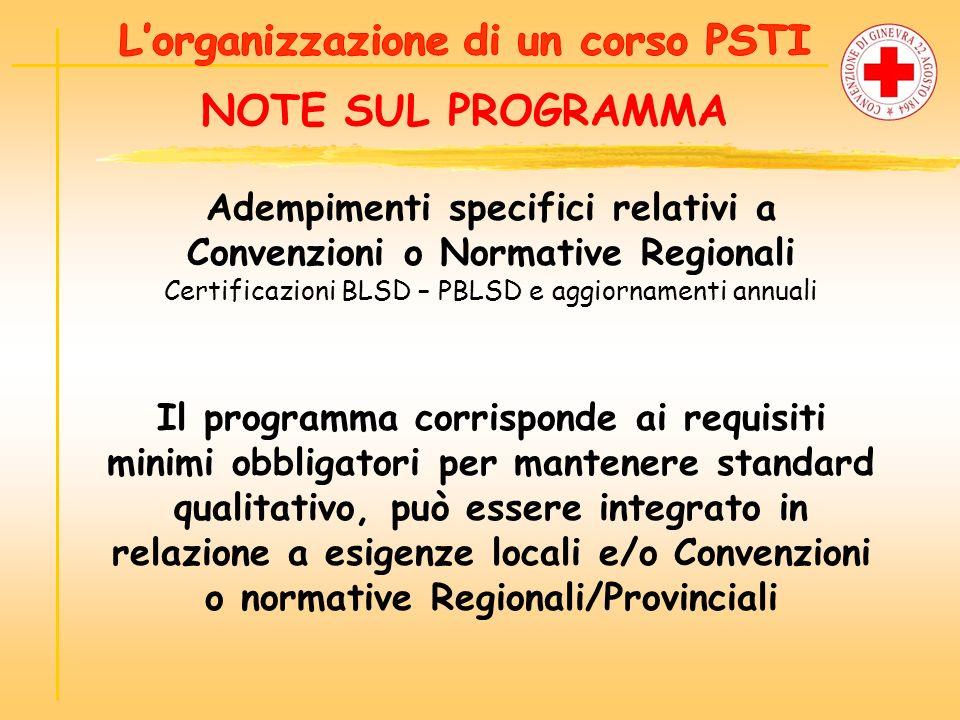 NOTE SUL PROGRAMMA Adempimenti specifici relativi a Convenzioni o Normative Regionali Certificazioni BLSD – PBLSD e aggiornamenti annuali Il programma