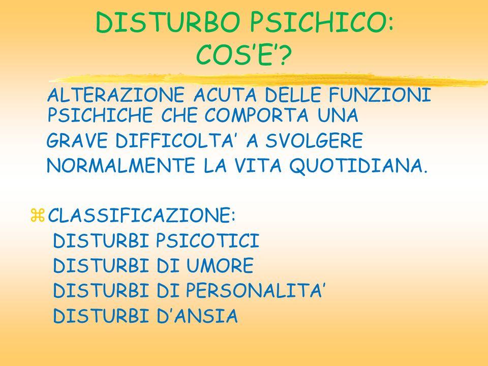 DISTURBO PSICHICO: COSE.