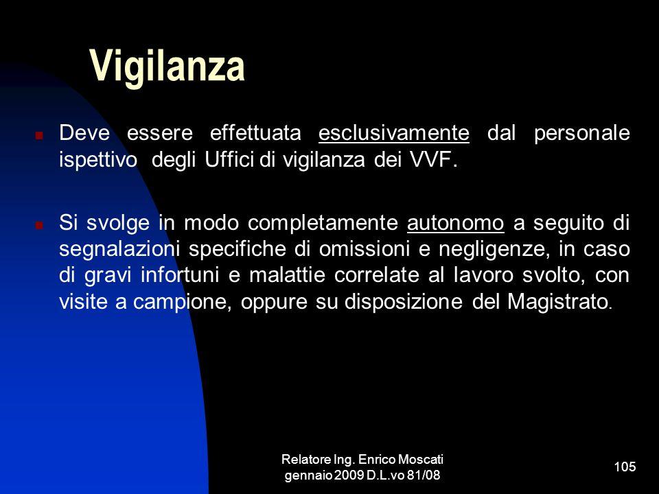 Relatore Ing. Enrico Moscati gennaio 2009 D.L.vo 81/08 105 Vigilanza Deve essere effettuata esclusivamente dal personale ispettivo degli Uffici di vig